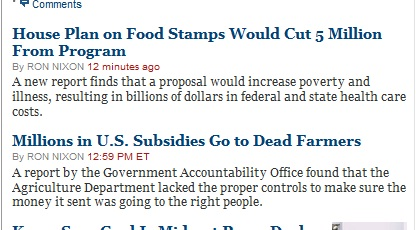 NY Times on the Farm Bill